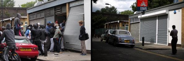In this composite image (Left Photo) Youths loot a Carhartt store in Hackney on August 8, 2011 in London, England. (Right Photo) The repaired shopping outlet, one year on from the riots. August 6th marks the one year anniversary of the England riots, over the course of four days several London boroughs, and districts of cities and towns around England suffered widespread rioting, looting and arson as thousands took to the streets. (Peter Macdiarmid/Getty Images)