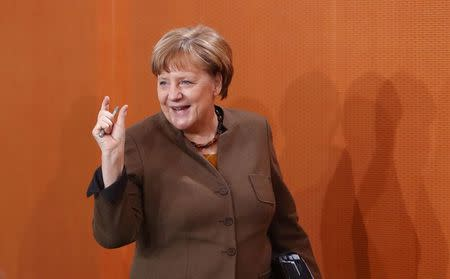 German Chancellor Angela Merkel attends the weekly cabinet meeting at the Chancellery in Berlin