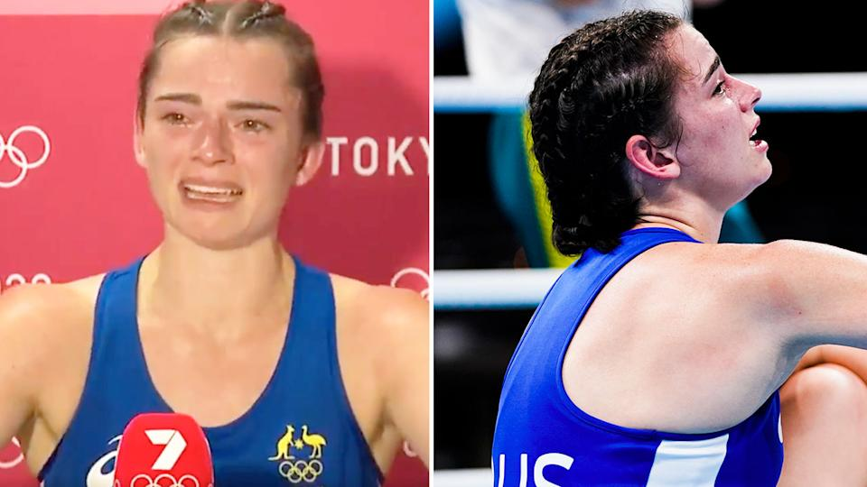 Skye Nicolson was inconsolable after losing her boxing quarter-final in heartbreaking circumstances. Pic: Ch7/AAP
