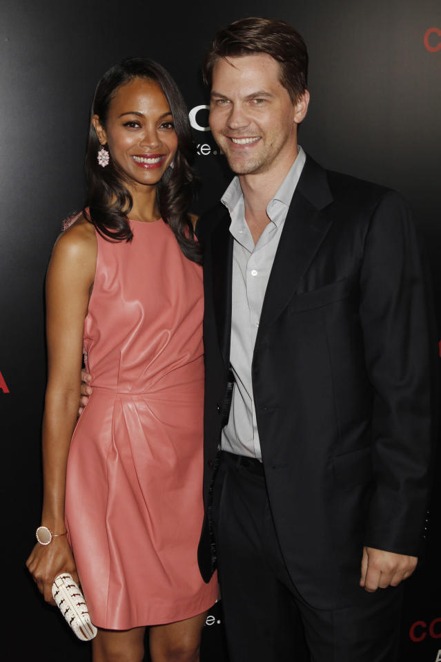 """Actress Zoe Saldana arrives at a special screening of the new film """"Colombiana"""" in Los Angeles."""