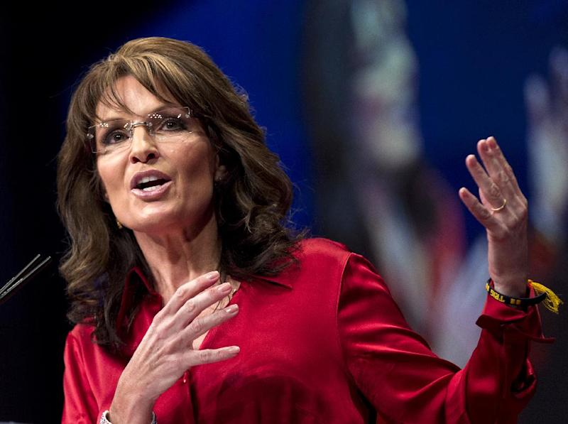 FILE - In this Feb. 11, 2012 file photo, Sarah Palin, the GOP candidate for vice-president in 2008, and former Alaska governor speaks in Washington. Palin is mounting an aggressive campaign in Missouri. She's on television and radio ads, making automated telephone calls, even serving barbecued pork sandwiches at a rural political picnic. She's urging residents to vote for Sarah _ Sarah Steelman, that is, one of three Republicans pitted in a prickly U.S. Senate primary. (AP Photo/J. Scott Applewhite)