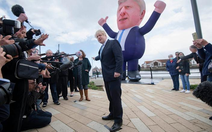 PM Boris Johnson in Hartlepool with inflatable model of himself - JULIAN SIMMONDS