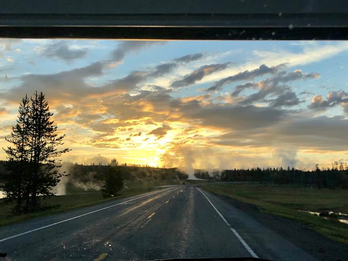 What it looked like from the RV during an early-morning drive through Yellowstone National Park.