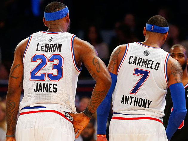 LeBron James and Carmelo Anthony. (Getty Images)