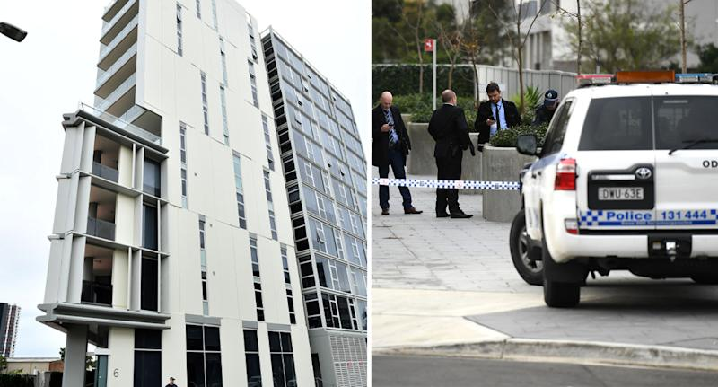 Police at the crime scene where Shuyu Zhou was found behind a building in Zetland on June 2019.