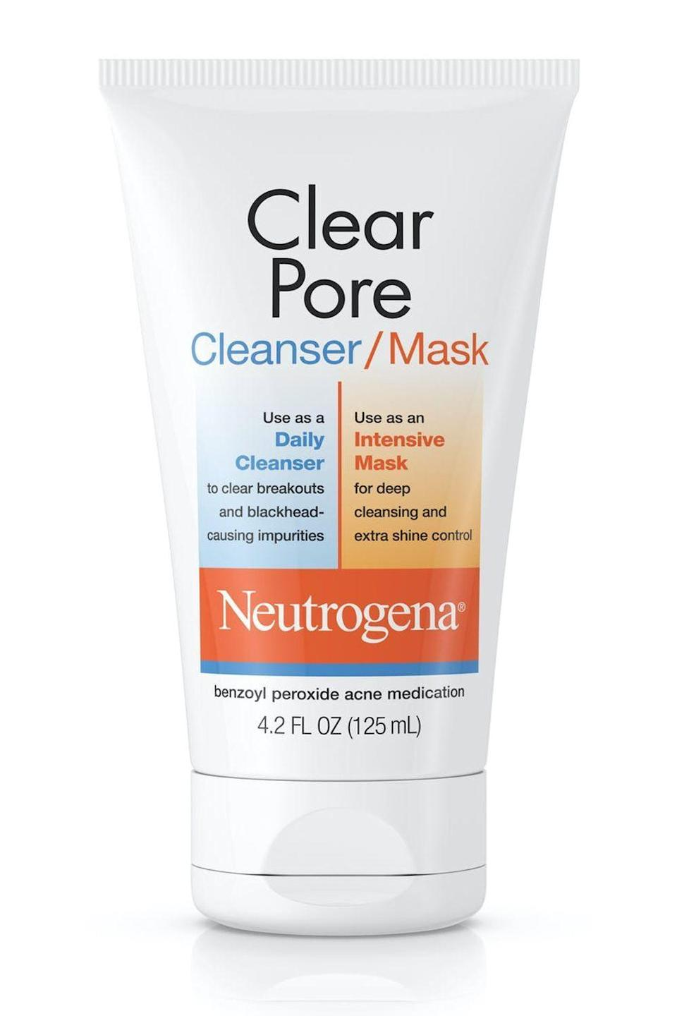 """<p><strong>Neutrogena</strong></p><p>amazon.com</p><p><strong>$10.00</strong></p><p><a href=""""http://www.amazon.com/dp/B00UOLF16I?tag=syn-yahoo-20&ascsubtag=%5Bartid%7C10049.g.33369976%5Bsrc%7Cyahoo-us"""" rel=""""nofollow noopener"""" target=""""_blank"""" data-ylk=""""slk:Shop Now"""" class=""""link rapid-noclick-resp"""">Shop Now</a></p><p>You can use this hybrid 3.5 percent benzoyl peroxide treatment two ways: as <strong>a daily cleanser or as an intensive <a href=""""https://www.cosmopolitan.com/style-beauty/beauty/g10285431/best-face-masks/"""" rel=""""nofollow noopener"""" target=""""_blank"""" data-ylk=""""slk:face mask"""" class=""""link rapid-noclick-resp"""">face mask</a></strong>. Wash with it morning and night (or just once a day for dry skin) to clear blackheads and whiteheads, or use it twice a week as a deep-cleaning and shine-controlling mask for up to five minutes.</p>"""
