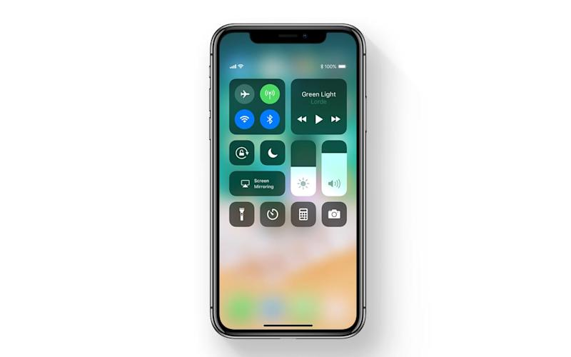iOS 11 control centre on iPhone X - Apple