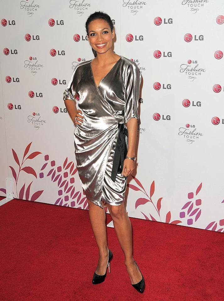 "Do you think Rosario Dawson was channeling Jane Jetson in her space-age silver wrap dress? Jordan Strauss/<a href=""http://www.wireimage.com"" target=""new"">WireImage.com</a> - May 24, 2010"