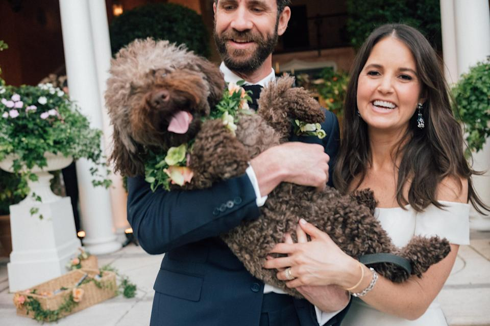 Our naughty puppy, Nonna, made a cameo at the end of cocktail hour, arriving—in proper flower collar wedding attire!—to pick up the children after a little bit of dancing before the adults sat down for dinner.