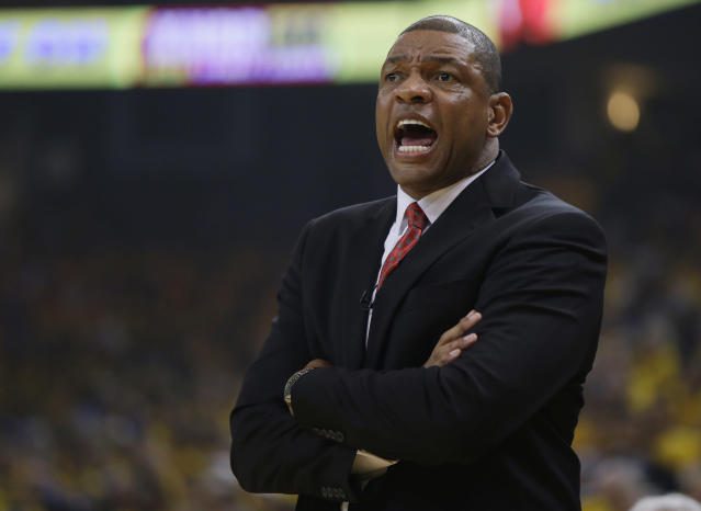 Los Angeles Clippers coach Doc Rivers yells out instructions as his team plays the Golden State Warriors during the first half in Game 3 of an opening-round NBA basketball playoff series, Thursday, April 24, 2014, in Oakland, Calif. (AP Photo/Marcio Jose Sanchez)