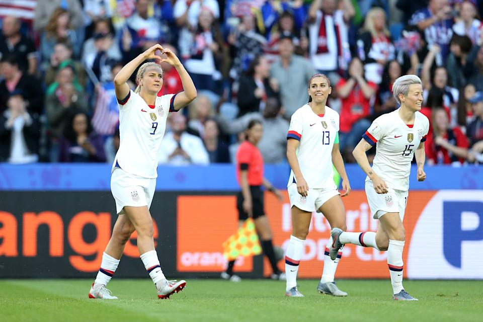 LE HAVRE, FRANCE - JUNE 20: Lindsey Horan of the USA celebrates after scoring her team's first goal during the 2019 FIFA Women's World Cup France group F match between Sweden and USA at Stade Oceane on June 20, 2019 in Le Havre, France. (Photo by Maddie Meyer - FIFA/FIFA via Getty Images)
