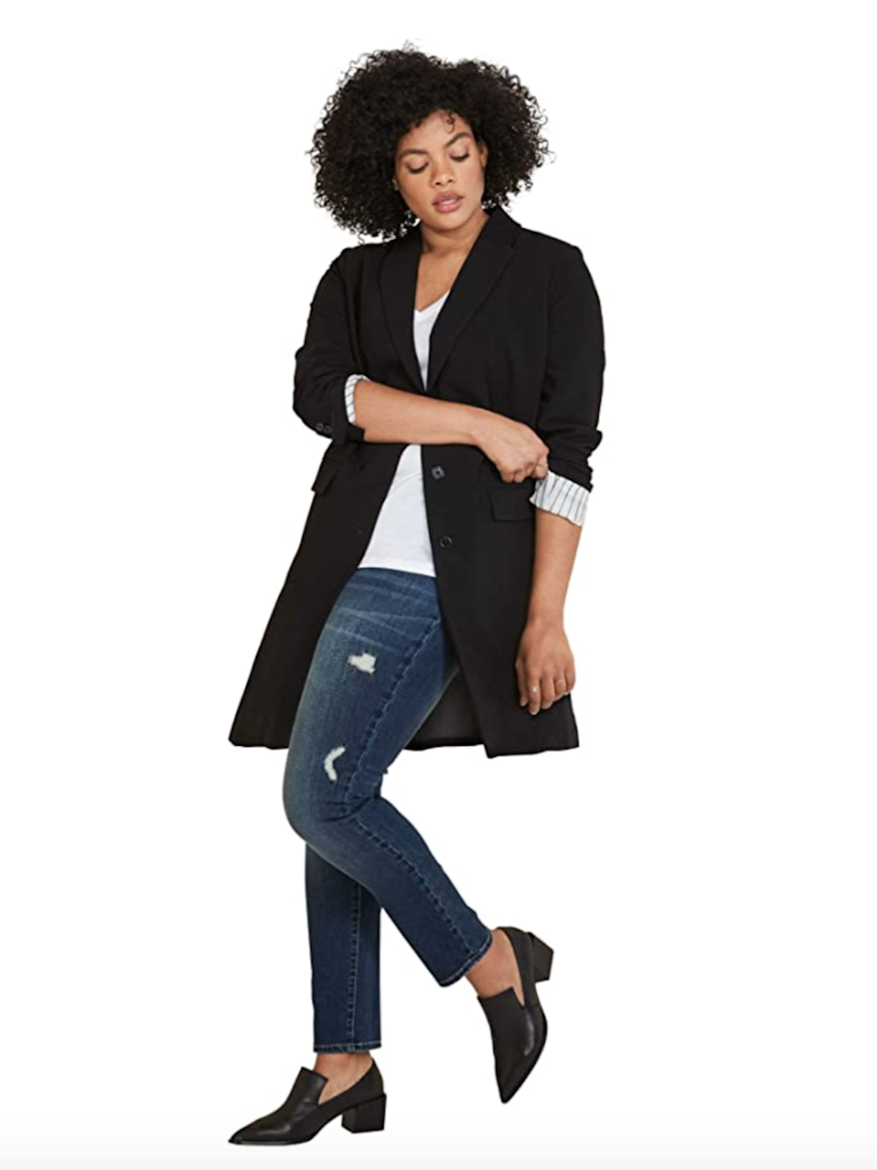 "<br><br><strong>Ellos</strong> Plus Size Long Boyfriend Blazer, $, available at <a href=""https://amzn.to/3ekIQZc"" rel=""nofollow noopener"" target=""_blank"" data-ylk=""slk:Amazon"" class=""link rapid-noclick-resp"">Amazon</a>"