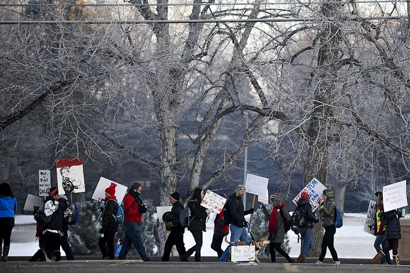 DENVER, CO - FEBRUARY 11: Denver Public Schools teachers and members of the community picket outside South High School on February 11, 2019 in Denver, Colorado. Denver teachers are striking for the first time in 25 years after the school district and the union representing the educators failed to reach an agreement after 14 months of contract negations over teacher pay. (Photo by Michael Ciaglo/Getty Images) ORG XMIT: 775295992 ORIG FILE ID: 1097896032