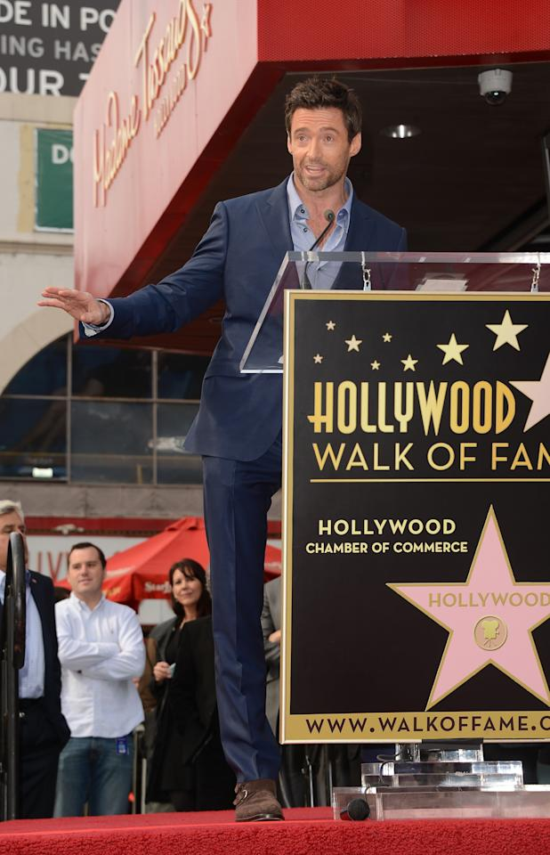HOLLYWOOD, CA - DECEMBER 13:  Actor Hugh Jackman is honored with a star on The Hollywood Walk Of Fame on December 13, 2012 in Hollywood, California.  (Photo by Jason Merritt/Getty Images)