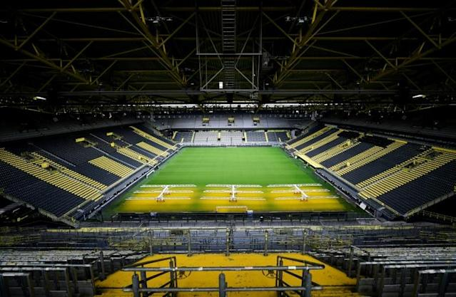 The German football league hopes to get the greenlight on Wednesday to restart from May 15. (AFP Photo/Ina FASSBENDER)