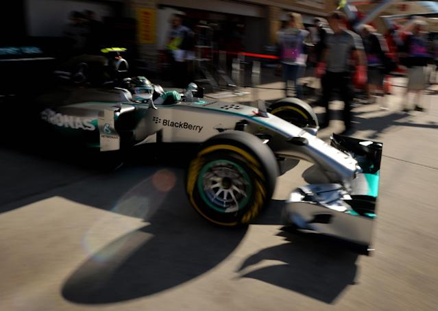 Mercedes AMG Petronas driver Nico Rosberg of Germany leaves the pits during the final practice session of the United States Formula One Grand Prix at the Circuit of The Americas in Austin, Texas on November 1, 2014 (AFP Photo/Mark Ralston)
