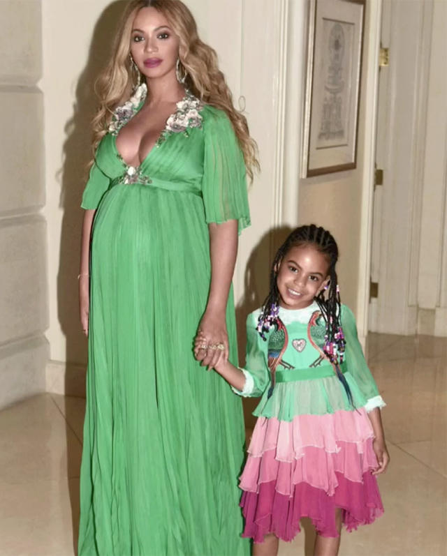 "<p>Queen Bey has embraced the matchy-matchy looks with Blue. We're sure the trend will continue when the babies arrive. (Photo: <a href=""https://www.instagram.com/p/BRYtZqjAy-g/?taken-by=beyonce&hl=en"" rel=""nofollow noopener"" target=""_blank"" data-ylk=""slk:Beyoncé via Instagram"" class=""link rapid-noclick-resp"">Beyoncé via Instagram</a>) </p>"