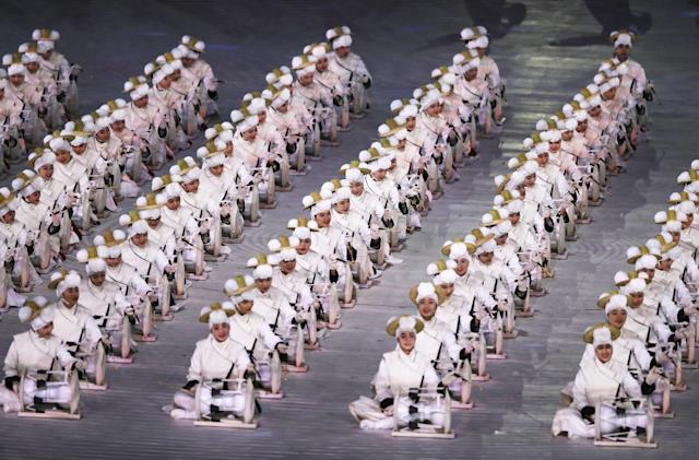 <p>Dancers perform during the Opening Ceremony of the PyeongChang 2018 Winter Olympic Games at PyeongChang Olympic Stadium on February 9, 2018 in Pyeongchang-gun, South Korea. (Photo by Jamie Squire/Getty Images) </p>