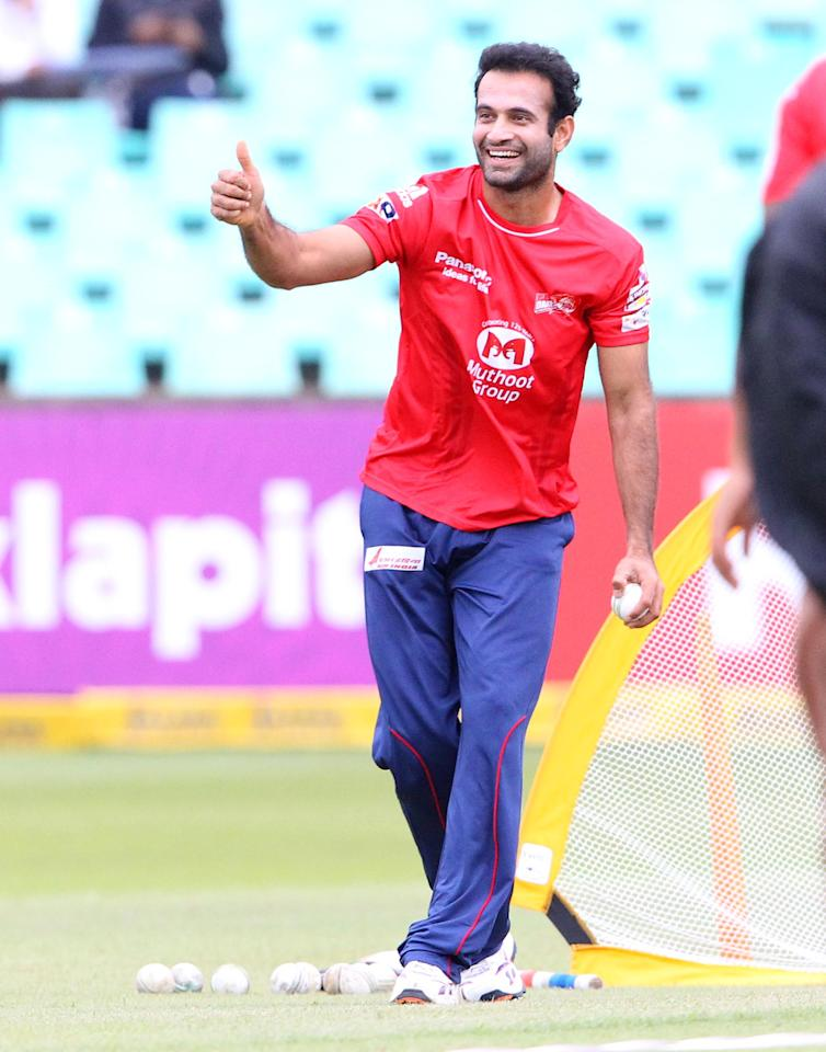 DURBAN, SOUTH AFRICA - OCTOBER 25: Irfan Pathan during a traing session prior the Karbonn Smart CLT20 Semi Final match between bizhub Highveld Lions and Delhi Daredevils at Sahara Stadium Kingsmead on October 25, 2012 in Durban, South Africa. (Photo by Anesh Debiky/Gallo Images/Getty Images)
