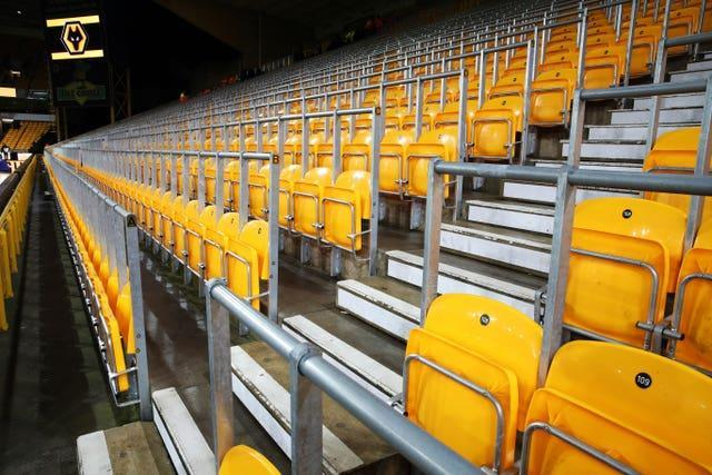 A general view of the safe standing area at Wolves