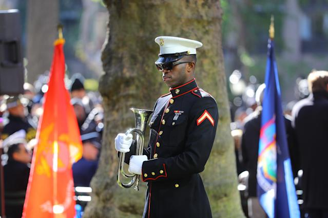 "<p>A Marine awaits to play ""Taps""at a ceremony in Madison Square Park before the Veterans Day parade in New York City on Nov. 11, 2017. (Photo: Gordon Donovan/Yahoo News) </p>"