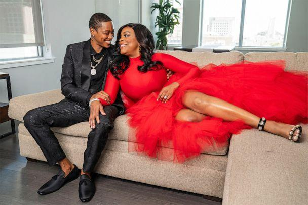 PHOTO:  Niecy Nash (right) and wife Jessica Betts (left) pose for a photo for their 2020 Christmas card. (HP Inc)