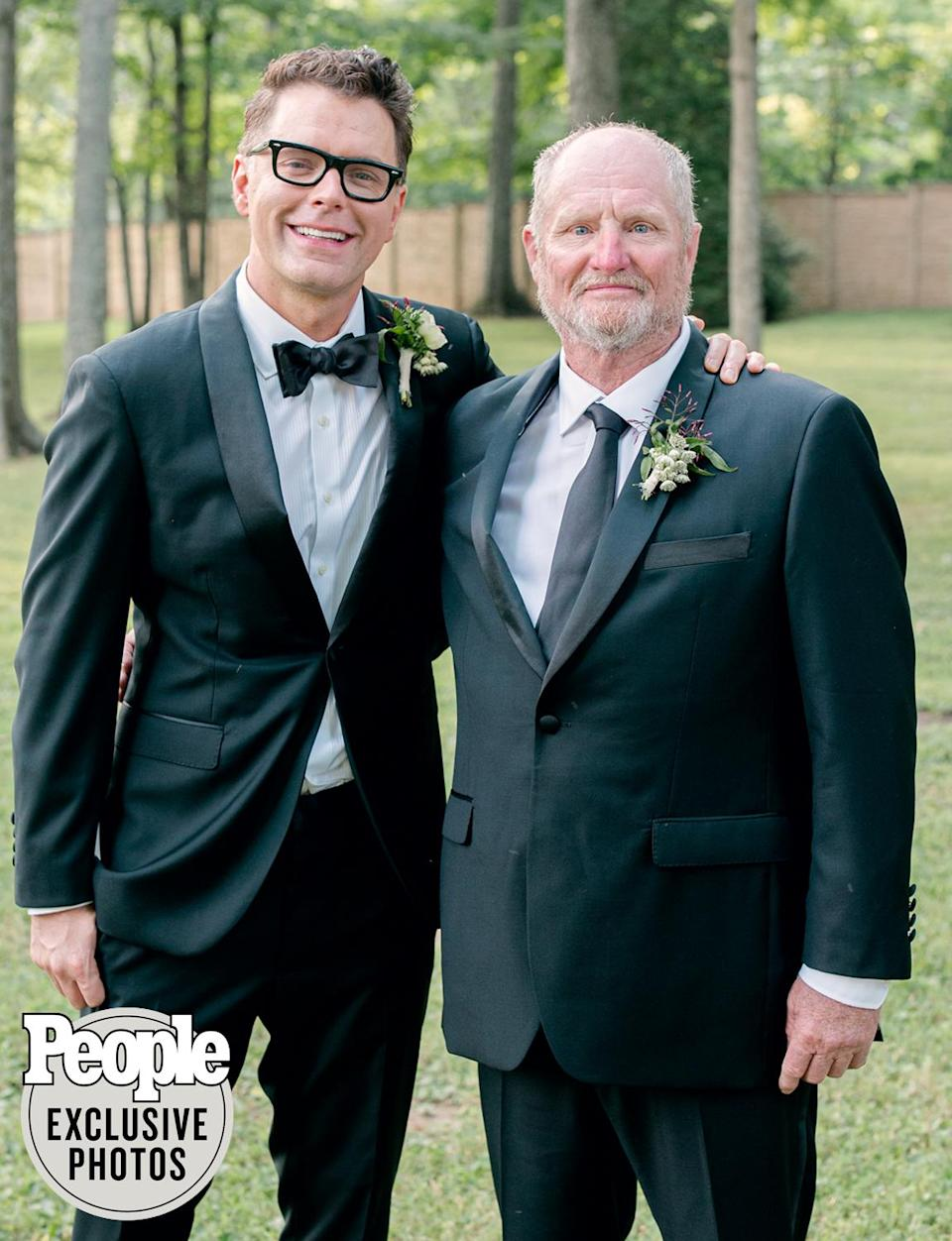 """<p>Bones with his former stepfather """"Arkansas Keith"""" Sandage, who was also a groomsman.</p>"""
