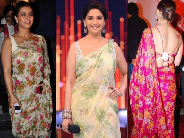 Floral prints on chiffon or crepe sarees are one of the most stylish fashion statements that have found huge favours with party and wedding goers. You can experiment with a number of colours and floral styles.