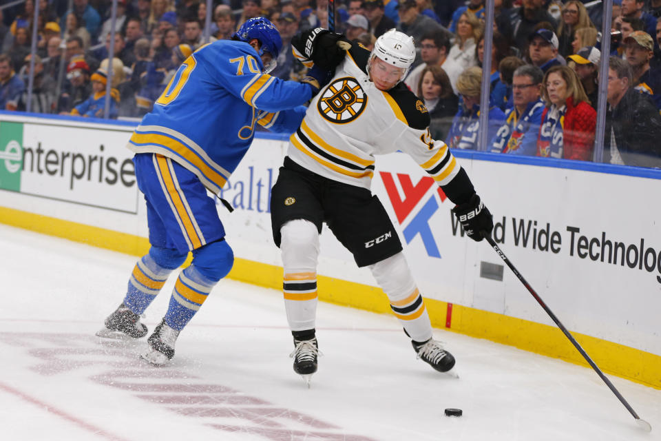 Newly acquired Charlie Coyle carries upside thanks to the Boston Bruins' productive power play. (AP Photo/Dilip Vishwanat)