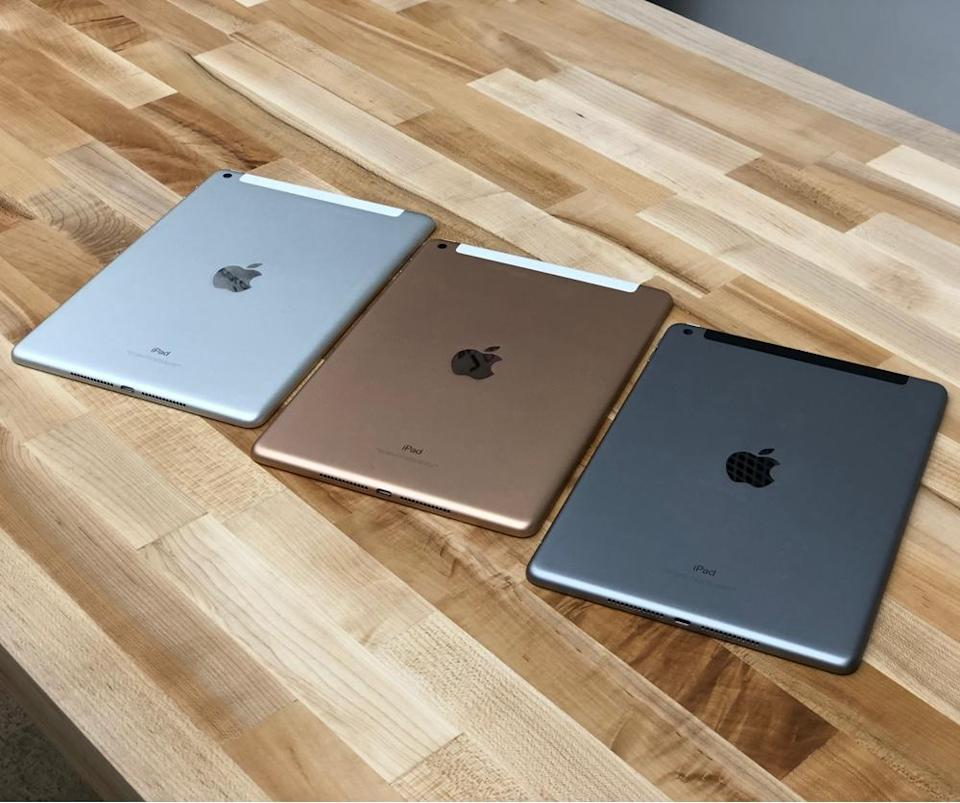 The new iPad is available in silver, gold and space gray.
