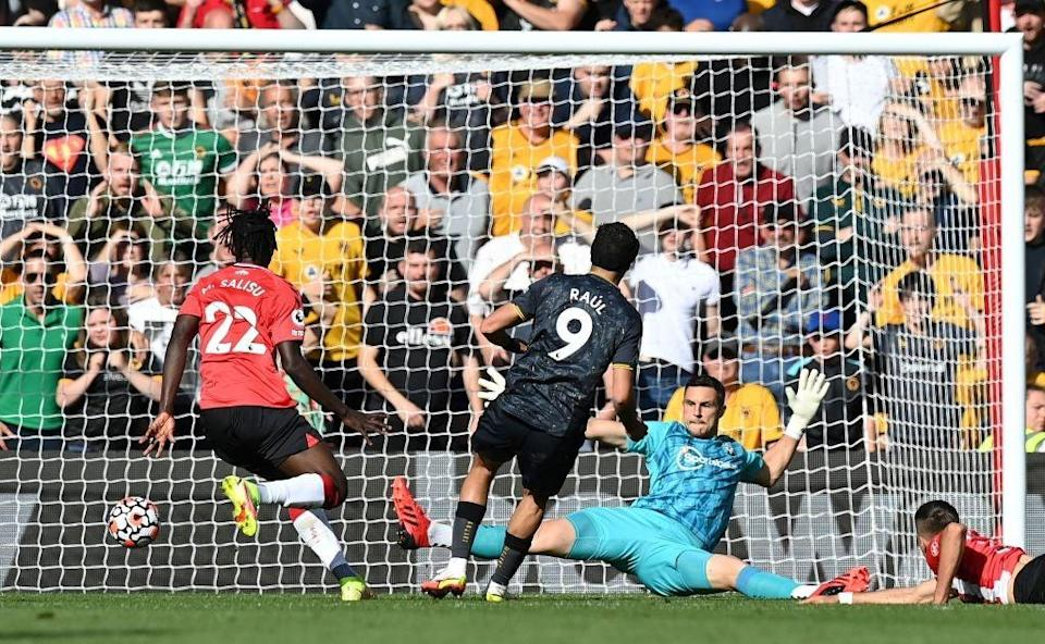 Raul Jimenez beats Southampton goalkeeper Alex McCarthy  for the only goal of the game  (AFP/Getty)