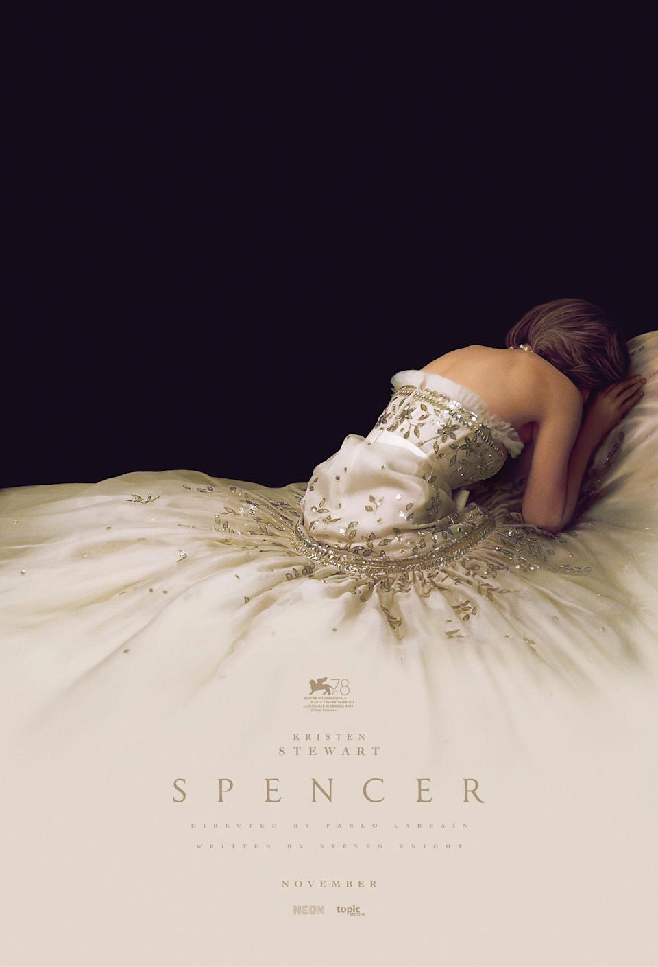 """Kristen Stewart as Princess Diana in the poster for """"Spencer."""" First look footage at CinemaCon caused a royal stir."""