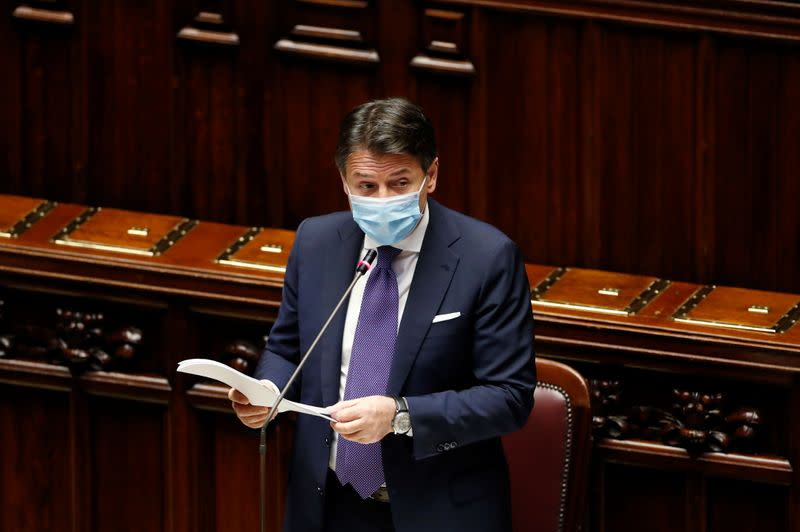 FILE PHOTO: Italian Prime Minister Giuseppe Conte addresses members of the lower house of parliament, in Rome