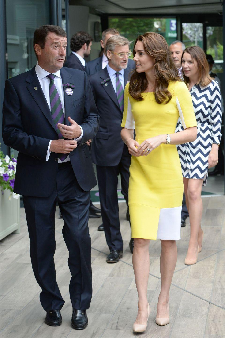 """<p>Taking a note from <a href=""""https://www.harpersbazaar.com/celebrity/latest/news/a16503/pippa-middleton-wimbledon-outfits/"""" rel=""""nofollow noopener"""" target=""""_blank"""" data-ylk=""""slk:her sister Pippa"""" class=""""link rapid-noclick-resp"""">her sister Pippa</a>, Kate Middleton dresses up for Wimbledon with a bright lemon-yellow and white dress by Roksanda.</p>"""