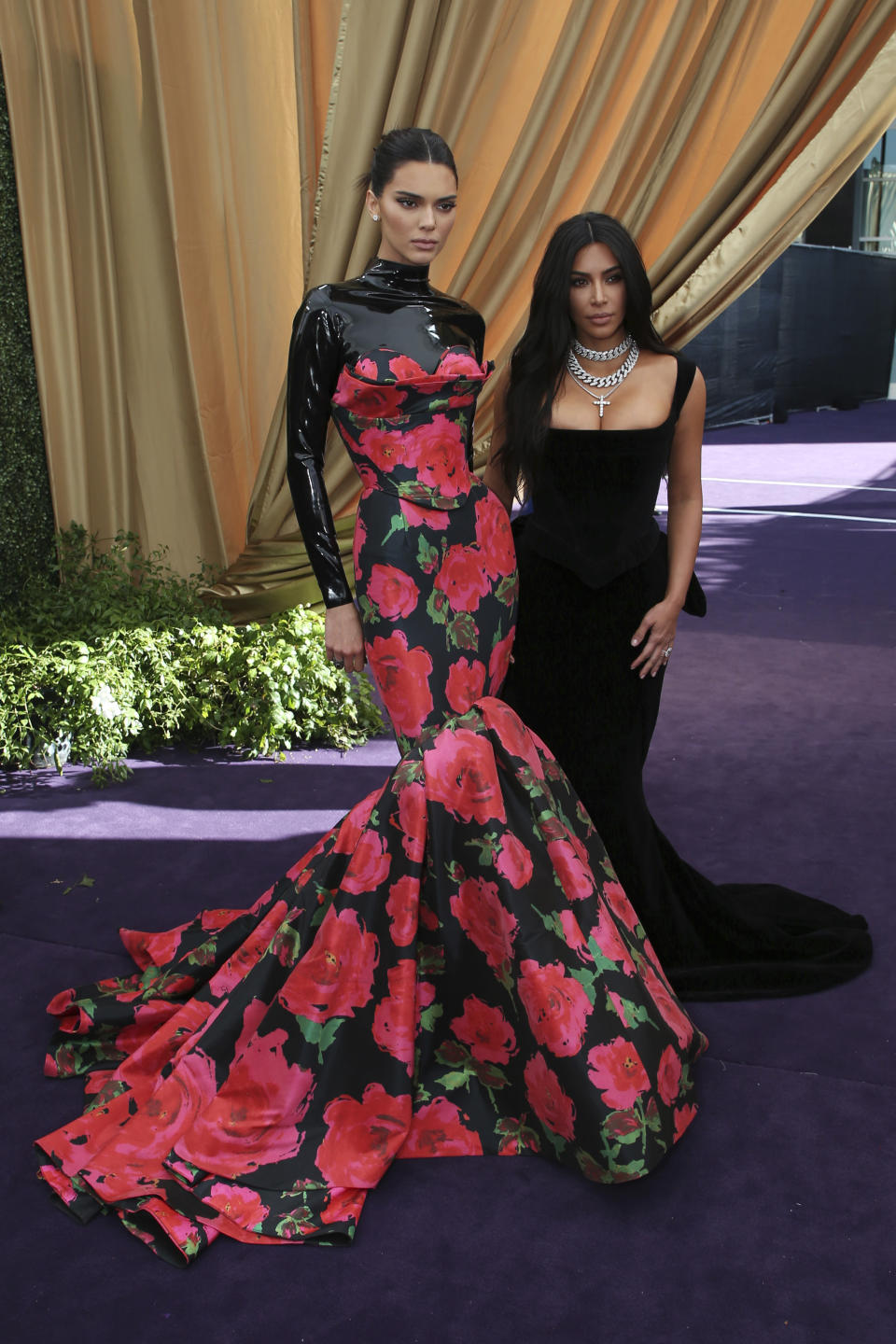 Kendall Jenner and Kim Kardashian arrive at the 71st Primetime Emmy Awards on Sunday, Sept. 22, 2019, at the Microsoft Theater in Los Angeles. (Photo by J.Emilio Flores/Invision for FIJI/AP Images)