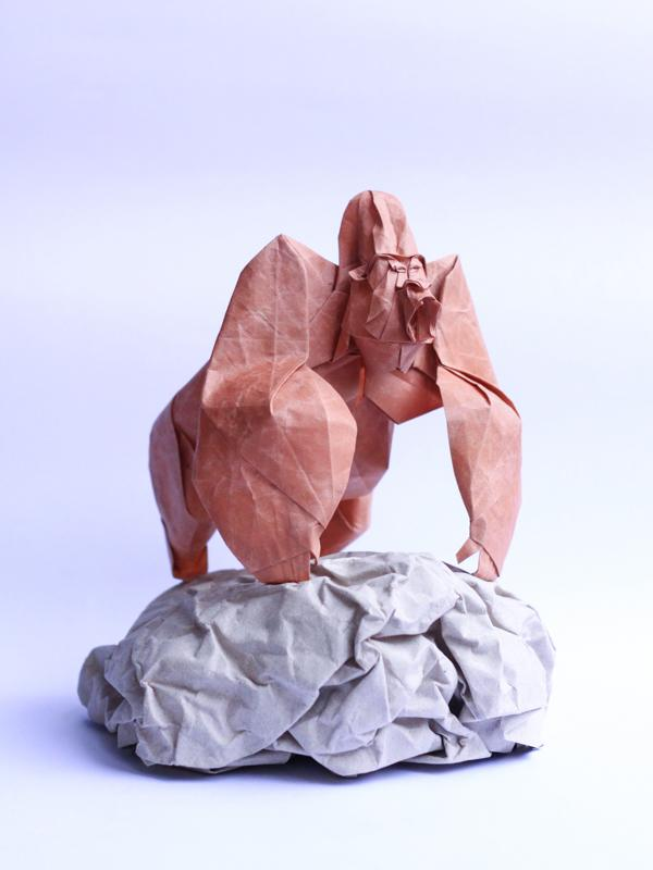Origami art - Gorilla. Added more detail to the head