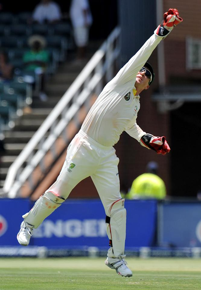 Australian wicketkeeper Brad Haddin catches the ball during the first day of the second cricket Test match between South Africa and Australia at the Wanderers Stadium in Johannesburg  on November 17, 2011.  AFP PHOTO / ALEXANDER JOE (Photo credit should read ALEXANDER JOE/AFP/Getty Images)