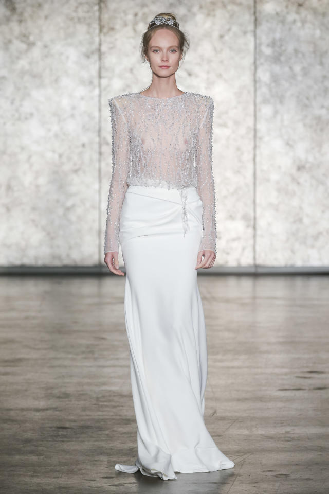 <p>Sheer crystal-encrusted top and white maxi skirt. (Photo: Dan Lecca) </p>