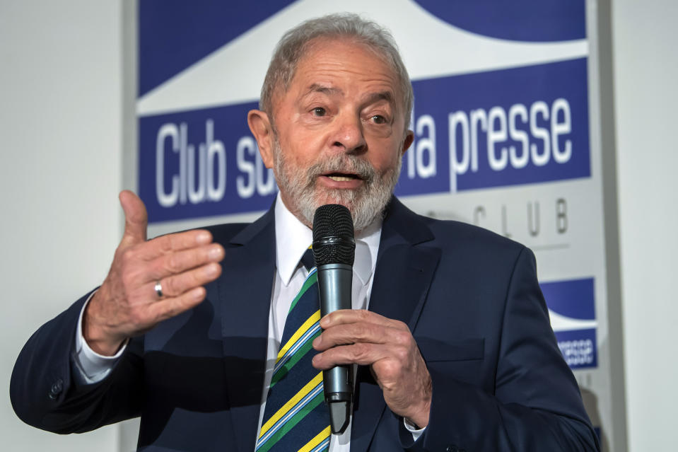 """Former Brazilian President Luis Inacio Lula da Silva, 'Lula', speaks during a speech entitled """"Dialogue about inequality with global unions and general public """" during a press conference, at the Geneva press club, in Geneva, Switzerland, Friday, March 6, 2020. (Martial Trezzini/Keystone via AP)"""
