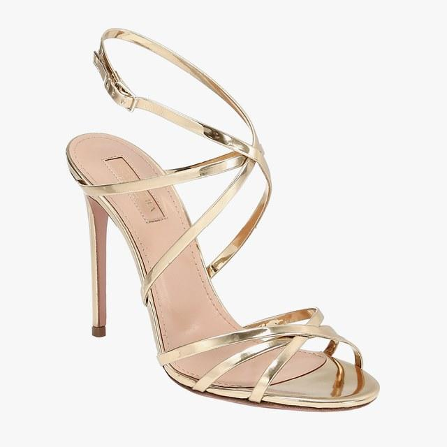 Aquazzura strappy metallic stilettos, $795, saks.com