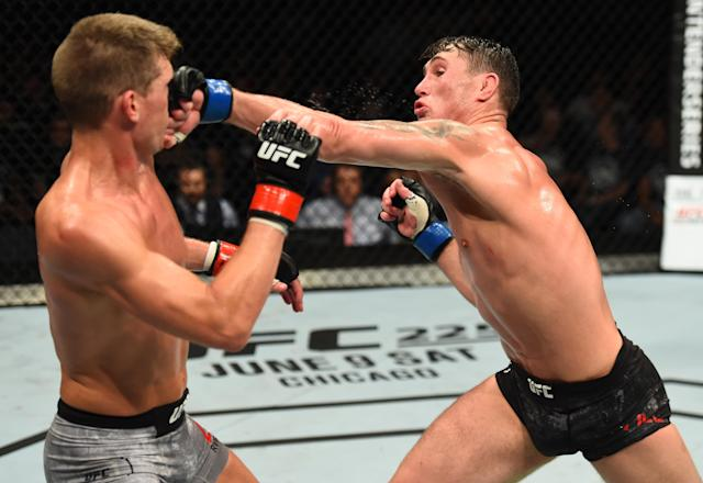 Darren Till punches Stephen Thompson in their welterweight bout during the UFC Fight Night event at Echo Arena on May 27, 2018 in Liverpool, England. (Getty Images)