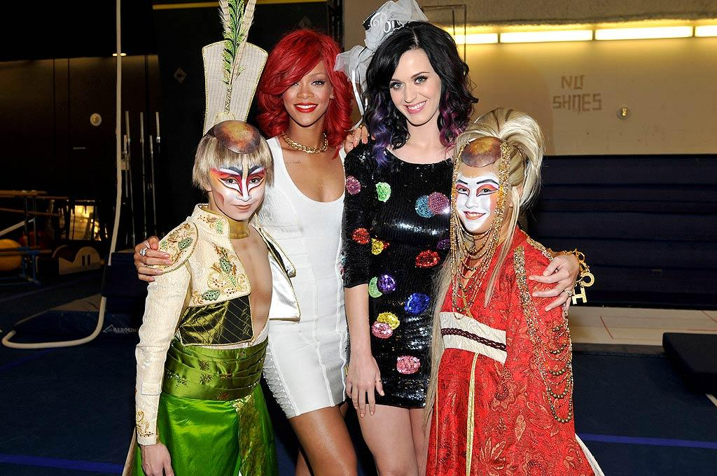 "Despite the <a href=""http://omg.yahoo.com/blogs/a-line/sesame-street-pulls-controversial-katy-perry-duet/624"" target=""new"">""Sesame Street"" scandal</a>, Katy Perry did get to have some fun last weekend at her bachelorette party thrown by none other than Rihanna in Sin City. The festivities included hanging out by the pool at the Hard Rock Hotel & Casino and taking in a performance of KA by Cirque du Soleil. David Becker/<a href=""http://www.gettyimages.com/"" target=""new"">GettyImages.com</a> - September 17, 2010"