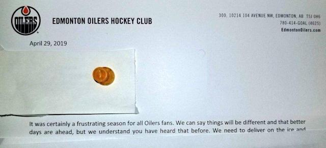 The Edmonton Oilers were brutally honest about another disappointing season in a letter to season ticket holders. (Photo: Reddit)