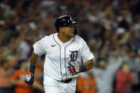 Detroit Tigers designated hitter Miguel Cabrera watches his sacrifice fly to center during the eighth inning of a baseball game against the Baltimore Orioles, Friday, July 30, 2021, in Detroit. (AP Photo/Carlos Osorio)