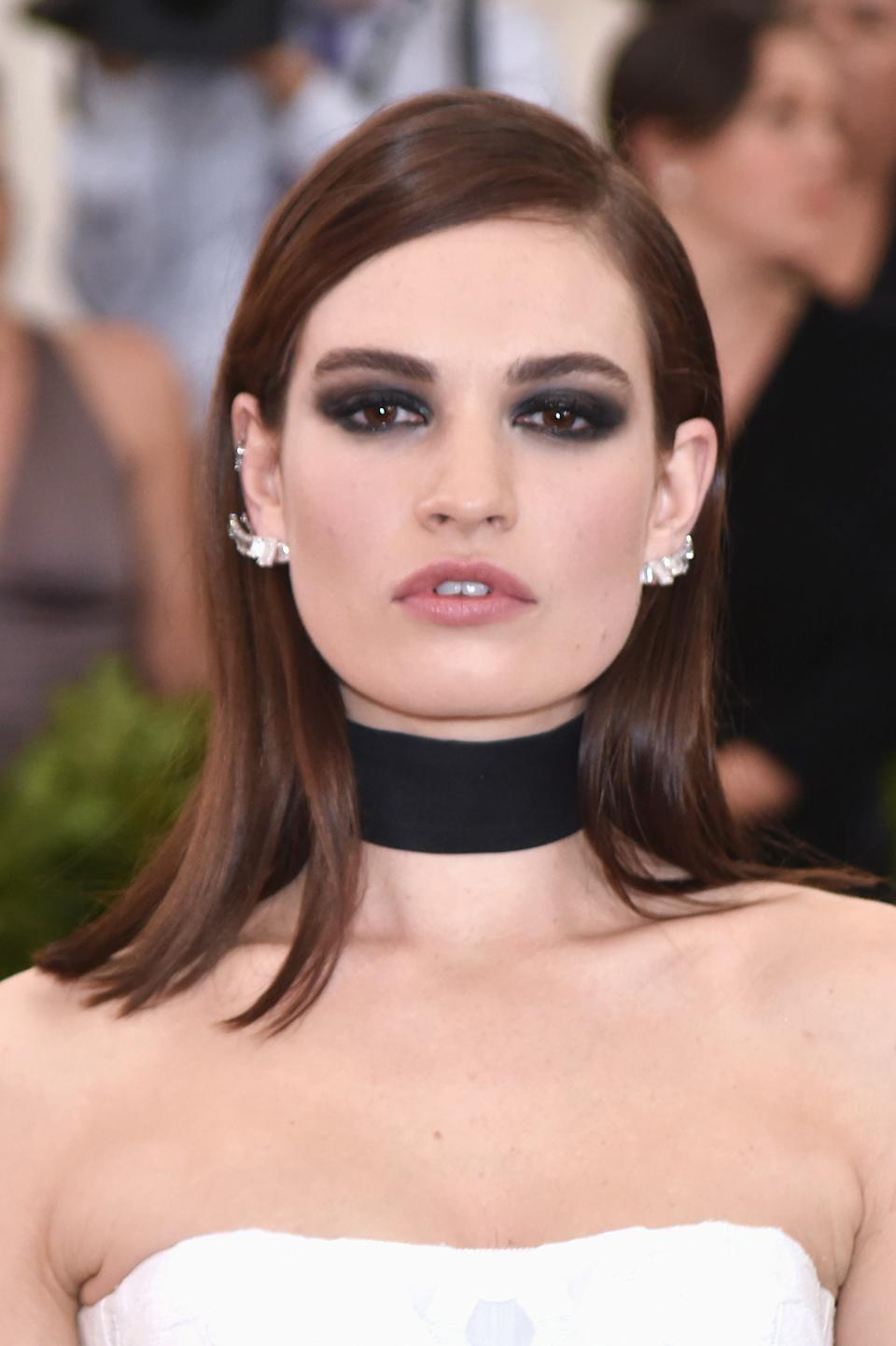 Lily James attends The Metropolitan Museum of Art Costume Institute Benefit celebrating the opening of Rei Kawakubo / Comme des Garcons : Art of the In-Between held at The Metropolitan Museum of Art in New York, NY, on May 1, 2017. (Photo by Steven Ferdman) *** Please Use Credit from Credit Field ***