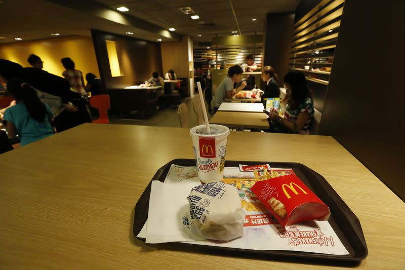 A burger set is displayed at a McDonald's restaurant in Hong Kong in this photo illustration