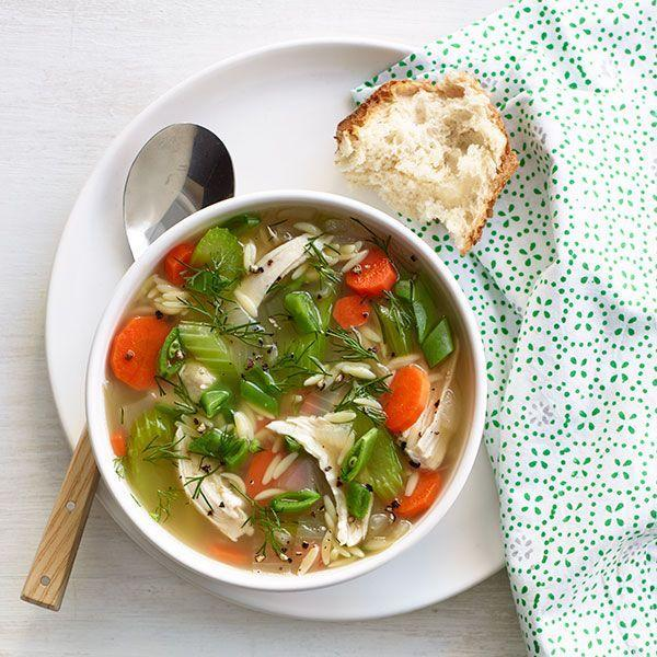 """<p>Leave out the dill and snap peas, and you can freeze this weeknight meal for up to three months. Just add the greens before serving.</p><p><em><a href=""""http://www.womansday.com/food-recipes/food-drinks/recipes/a11152/lemony-chicken-orzo-soup-recipe-wdy0514/"""" rel=""""nofollow noopener"""" target=""""_blank"""" data-ylk=""""slk:Get the recipe from Woman's Day »"""" class=""""link rapid-noclick-resp"""">Get the recipe from Woman's Day »</a></em></p>"""