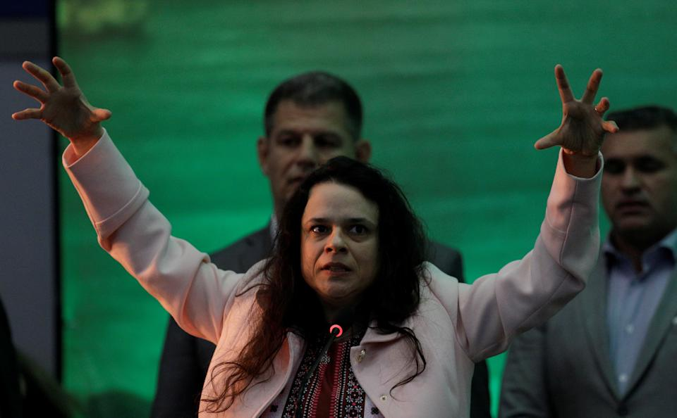 Lawyer Janaina Paschoal delivers a speech during the national convention of the Party for Socialism and Liberation (PSL) where Federal deputy Jair Bolsonaro is to be formalised as a candidate for the Presidency of the Republic, in Rio de Janeiro, Brazil July 22, 2018. REUTERS/Ricardo Moraes