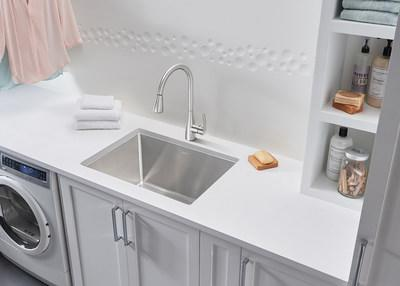 ... Laundry Sink. A Perfect Fit For Small Spaces, The QUATRUS R15 Is Built  For Convenience Featuring An Extra Deep 12 Inch Bowl And Generous R15  Radius ...
