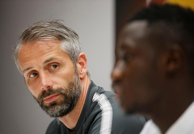Soccer Football - Europa League - RB Salzburg Press Conference - Orange Velodrome, Marseille, France - April 25, 2018 RB Salzburg coach Marco Rose and Diadie Samassekou during the press conference REUTERS/Jean-Paul Pelissier